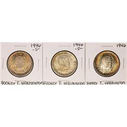 Set of 1946-P/D/S Booker T. Washington Commemorative Half Dollar Coins Nice Toning