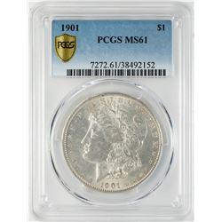 1901 $1 Morgan Silver Dollar Coin PCGS MS61