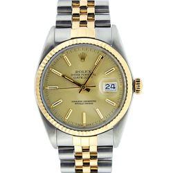 Rolex Mens Two Tone 14K Champagne Index 36MM Datejust Wristwatch
