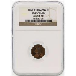 1852B Germany Schwaren Coin BGC MS63 RB