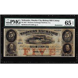 1857 $5 Western Exchange Fire & Marine Insurance Obsolete Note PMG Gem 65EPQ