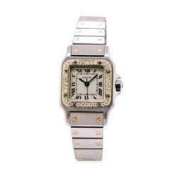 Cartier Ladies Santos Stainless Steel & 18KT Yellow Gold 0.40 ctw Diamond Wristwatch
