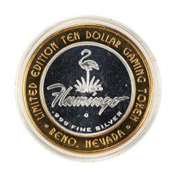 .999 Silver Flamingo Reno Nevada $10 Casino Limited Edition Gaming Token