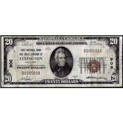 1929 $20 NB & Trust Lexington, KY CH# 906 National Currency Note