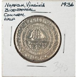 1936 Norfolk Bicentennial Commemorative Half Dollar Coin PCGS MS65
