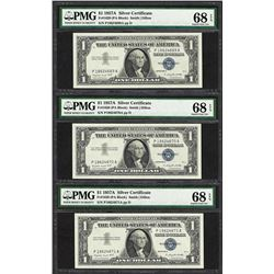 Lot of (3) Consecutive 1957A $1 Silver Certificate Notes PMG Superb Gem Unc. 68EPQ