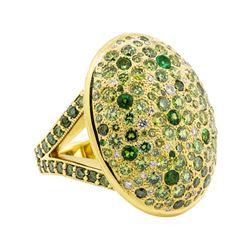 18KT Yellow Gold 2.78 ctw Tsavorite, Emerald and Diamond Ring
