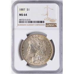 1887 $1 Morgan Silver Dollar Coin NGC MS64