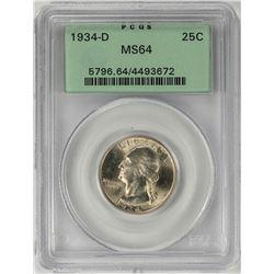 1934-D Washington Quarter Coin PCGS MS64 Old Green Holder