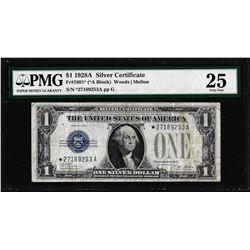 1928A $1 Funnyback Silver Certificate STAR Note Fr.1601* PMG Very Fine 25