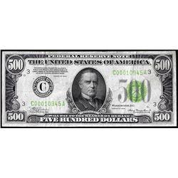 1934 $500 Federal Reserve Note Philadelphia