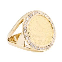 14KT Yellow Gold 0.45 ctw Diamond Gold Coin Ring