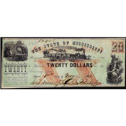 1862 $20 State of Mississippi Obsolete Note