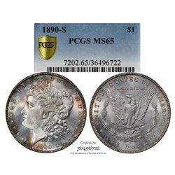 1890-S $1 Morgan Silver Dollar Coin PCGS MS65