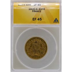 1830-A France 40 Francs Gold Coin ANACS XF45