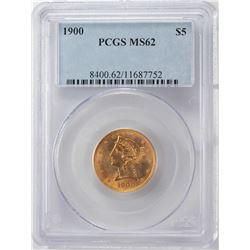 1900 $5 Liberty Head Half Eagle Gold Coin PCGS MS62