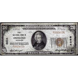 1929 $20 National Bank Oshkosh, WI CH# 6604 National Currency Note