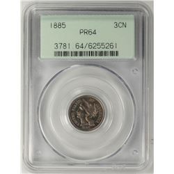 1885 Proof Three Cent Nickel Coin PCGS PR64 Old Green Holder