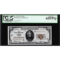 1929 $20 Federal Reserve Bank Note Chicago Fr.1870-G PCGS Gem New 65PPQ