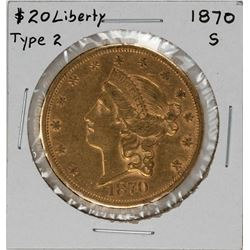 1870-S Type II $20 Liberty Head Double Eagle Gold Coin