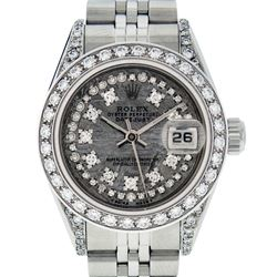 Rolex Ladies Stainless Steel Quickset Jubilee Datejust Wristwatch With Rolex Box