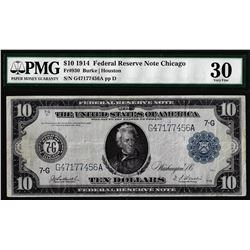 1914 $10 Federal Reserve Note Chicago Fr.930 PMG Very Fine 30