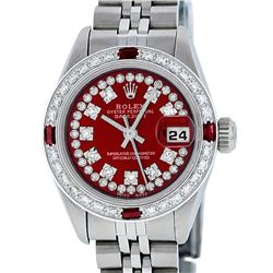 Rolex Ladies Stainless Steel Red Ruby & Diamond Datejust Wristwatch
