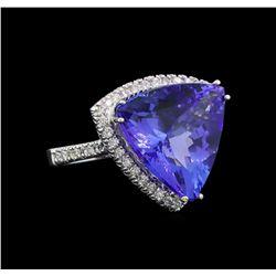 GIA Cert 16.05 ctw Tanzanite and Diamond Ring - 14KT White Gold