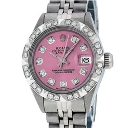 Rolex Ladies Stainless Steel Pink Pyramid Diamond Datejust Wristwatch
