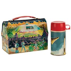 Lost in Space lunchbox with thermos signed by Jonathan Harris.