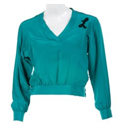 """Penny Marshall """"Laverne DeFazio"""" teal silk shirt from Laverne & Shirley."""