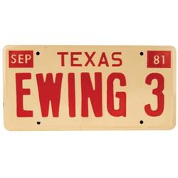 "Larry Hagman ""J.R. Ewing"" prop license plate from Dallas."
