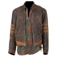 Hugh Jackman 'Wolverine/Logan' leather jacket and flannel shirt from X-Men.