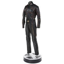 Hugh Jackman 'Wolverine' black leather battle suit on full-size display base from X-Men.