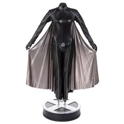Halle Berry 'Storm' black leather battle suit with silver cape on life-size display base from X-Men.