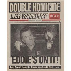 Prop newspaper depicting Robert De Niro as 'Detective Eddie Fleming' from 15 Minutes.