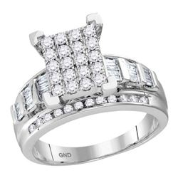 0.92 CTW Diamond Cluster Bridal Engagement Ring 10KT White Gold - REF-64N4F
