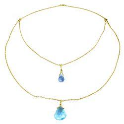 Genuine 7.5 ctw Blue Topaz Necklace Jewelry 14KT White Gold - REF-56M4T