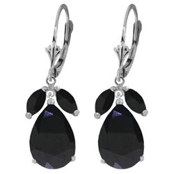Genuine 10.30 ctw Sapphire Earrings Jewelry 14KT White Gold - REF-95A5K