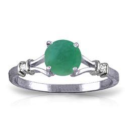 Genuine 0.62 ctw Emerald & Diamond Ring Jewelry 14KT White Gold - REF-33F6Z