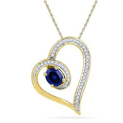 0.76 CTW Oval Created Blue Sapphire Heart Outline Pendant 10KT Yellow Gold - REF-19N4F