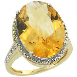Natural 13.6 ctw Citrine & Diamond Engagement Ring 10K Yellow Gold - REF-59G2M