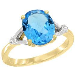 Natural 2.41 ctw Swiss-blue-topaz & Diamond Engagement Ring 14K Yellow Gold - REF-33H8W