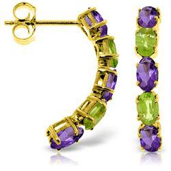 Genuine 2.5 ctw Amethyst & Peridot Earrings Jewelry 14KT Yellow Gold - REF-37K4V