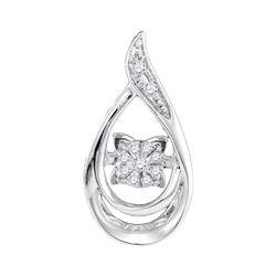 0.06 CTW Diamond Solitaire Teardrop Pendant 10KT White Gold - REF-13N4F