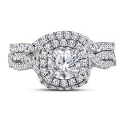 1.88 CTW Diamond Halo Bridal Engagement Ring 14KT White Gold - REF-509N9F