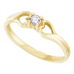 0.10 CTW Diamond Solitaire Heart Promise Bridal Ring 10KT Yellow Gold - REF-13X4Y