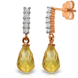 Genuine 4.65 ctw Citrine & Diamond Earrings Jewelry 14KT Rose Gold - REF-36P2H