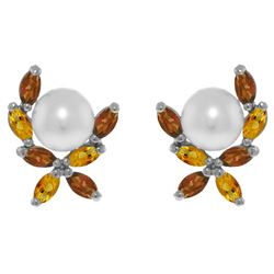 Genuine 3.25 ctw Pearl & Citrine Earrings Jewelry 14KT White Gold - REF-30P2H