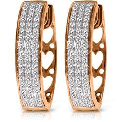 Genuine 0.45 ctw Diamond Anniversary Earrings Jewelry 10KT Rose Gold - REF-116M2T